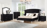 NO CREDIT NEEDED 90 DAYS NO INTEREST QUEEN BLACK VELVET BEDROOM SET College Park