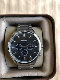round silver-colored Fossil chronograph watch with link bracelet Fullerton, 92831