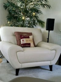 Cream leather sofa chair  Riverview