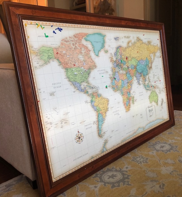 Frontgate beautiful framed wall map w/magnetic location markers on dry erase wall maps, red wall maps, home wall maps, blue wall maps, creative wall maps, magnetic us maps, glass wall maps, vinyl wall maps, wood wall maps, laminated wall maps, electronic wall maps, paris wall maps,
