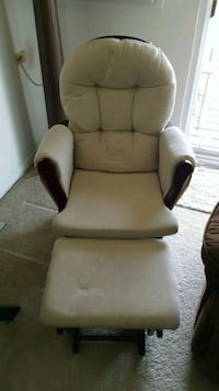 brown wooden framed white padded glider chair Justice, 60458