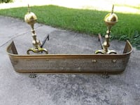 Antique fireplace brass fender footed & andirons  Hinckley, 60520