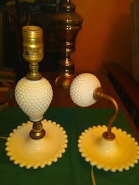 Pair of milk glass lamps