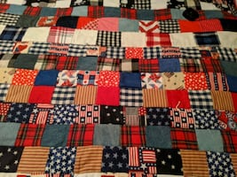 Patriotic hand made quilt throw.    70x57