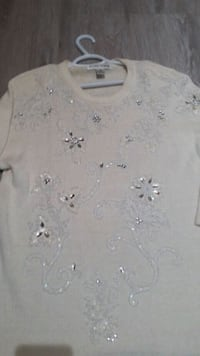 Ladies Sequin Beige Sweater size 2x