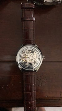 Round silver-colored chronograph watch with black leather strap Islip Terrace, 11752