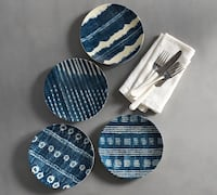 New Williams Sonoma Japanese Shibori (Set of 4) Melamine Plates Washington, 20001