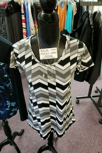 white and black striped scoop-neck shirt Nanaimo, V9R 2T2