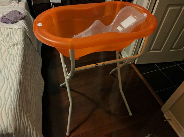 Used No more kneeling down. Baby bathtub with stand. for sale in ...