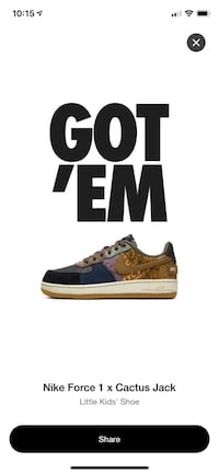 Nike Air Force 1 Cactus Jack Size 3y (Ps)