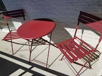 Red Metal Bistro Table with 2 Chairs