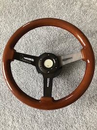 Avenue deep dish woodgrain steering wheel with NRG quick release 23 km