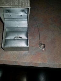 1/3 ct engagement ring and heart necklace