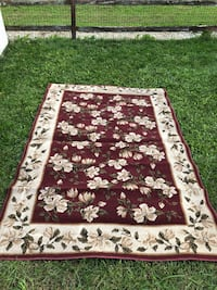 """Burgundy and white floral area rug carpet 7'8""""x5'2"""" Bear"""