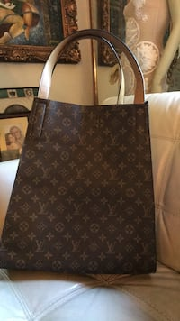 Brown monogrammed louis vuitton leather tote bag 3750 km