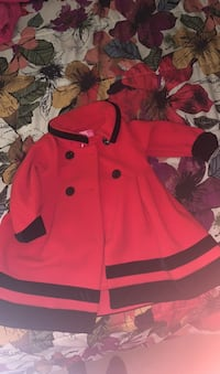 Red pea coat with velvet trim size 2T