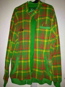 yellow and green plaid zip-up jacket