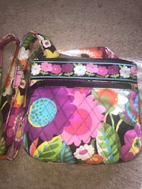 Quilted multicolored floral vera bradley crossbody bag