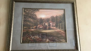 Brown and white house near tall trees painting