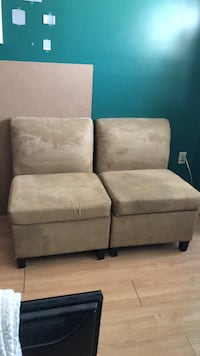 2 Taupe  chairs with storage - $85 for the set Whitby, L1N 3S2