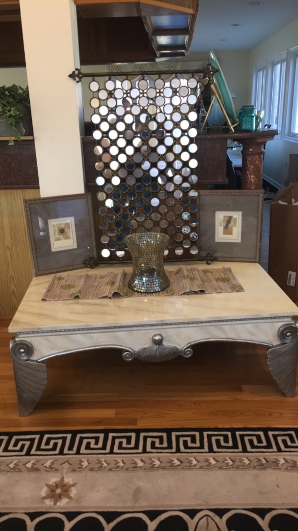5pc Wood White Silver Trim Coffee Table with table Decor