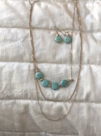 Turquoise color stone gold chain necklace and matching earrings   Mc Lean, 22102
