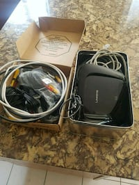 Linksys router and motorola modem and assorted cables. Edmonton, T5C 1Y1