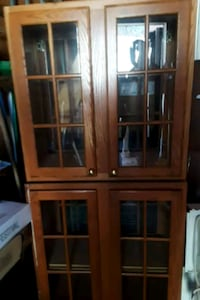 brown wooden framed glass display cabinet Lanham, 20706