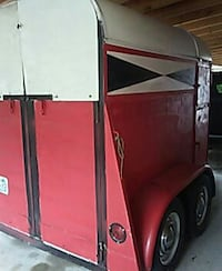 red and white inclose trailer