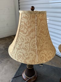 Matching lamps, picture frame, candle holders, and container