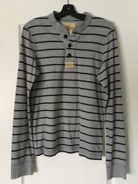Hollister Men's/Boys grey & blue stripe long sleeve shirt EUC size M Brampton, L6R 2S1