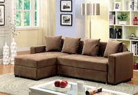 Contemporary Style Brown Fabric Sectional Sofa Couch
