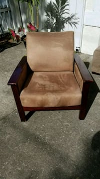 brown wooden frame fabric padded sofa chair Tampa, 33611
