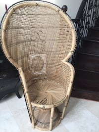 white wicker framed brown padded armchair Vaughan, L4L 4E7