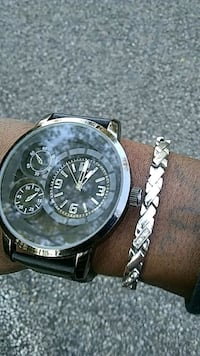 round silver chronograph watch with silver link bracelet Lena, 39094