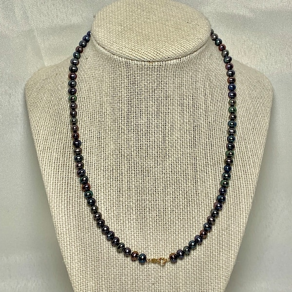 Genuine Black Pearl Necklace with 10k Gold Clasp 28f96394-6767-461f-b7fd-6f5702d3c0dc