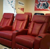red leather 3-seat recliner sofa Austin