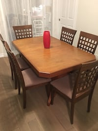 rectangular brown wooden table with six chairs dining set Aurora, L4G 5L8