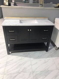 "48"" bathroom vanity single sink cabinet open bottom espresso with Carrara marble top Fairfax"