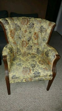 Yellow and green floral padded armchair London, N5W 2P1