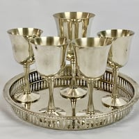 SET of 5 - Elegant Silver Goblets with serving tray Mc Lean, 22102