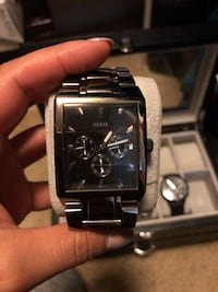 Square black chronograph watch with silver link bracelet Chula Vista, 91913