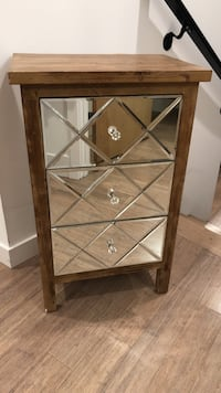 West elm like Brown wooden 3-drawer chest, pottery barn CB2