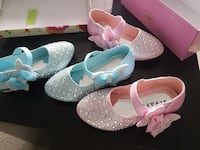 two pairs of pink and blue mary jane shoes