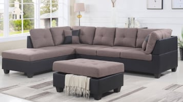 Brand new sectional sofa with ottoman