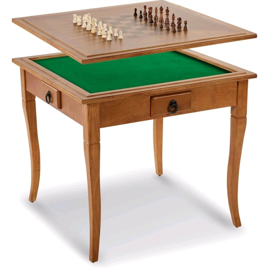 Photo Solid Wood Gaming Table With Table Top~Chess~Mahjong~Card~Poker