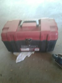 black and red Craftsman tool box