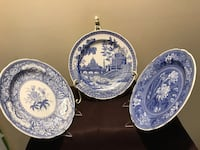 set of 3 THE BLUE SPODE COLLECTION; Botanical(1820)ROME(1811) FLORAL (1830) Underglaze from a hand engraved copper plate Baldwin, 11510