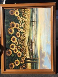 yellow and green sunflower field painting with frame