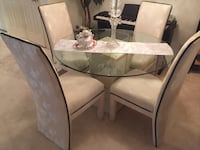 Asian table base with glass table and set of 4 beautiful chairs  Jupiter, 33458